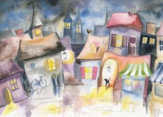 Obraz Small town at night - fototapety do salonu