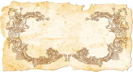 Aztec glyph parchment