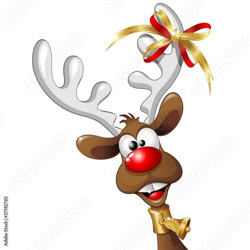 Immagini Renne Natale.Renna Natale Buffa Fumetto Funny Reindeer Cartoon Vector