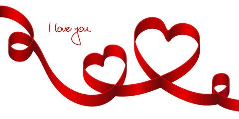 "Red Bow 2 Hearts 2 Swirls ""I loye you"""