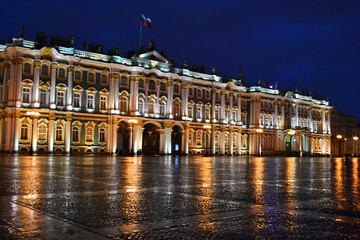 The State Hermitage Museum at night in St.Petersburg
