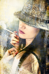 woman wearing hat - picture in retro style