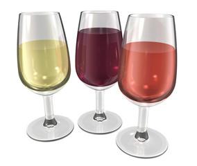 3 verres de vin blanc rosé rouge