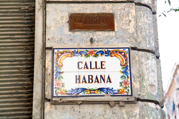 Sign on old Havana wall, Cuba