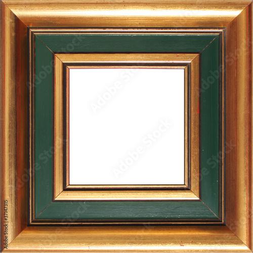 Marco cuadrado dorado y verde\
