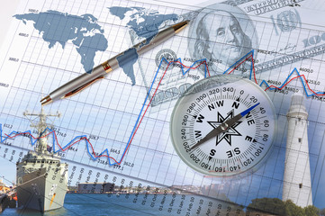 Financial charts with lighthouse on the background