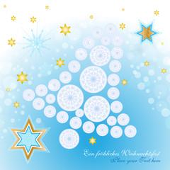 filigranes - weihnachtskarte mit glocke und sterne