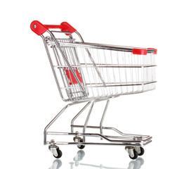empty shopping cart isolated on white