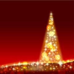 merry christmas card - christmas tree