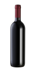 red Wine bottle isolated against white background