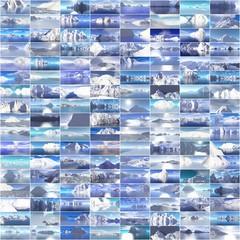 Collage von verschiedenen Eisbergfotos