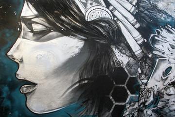 Lamas personalizadas con motivos artísticos con tu foto Arte urbano. Graffiti de una mujer en una pared
