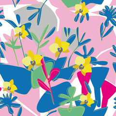 Seamless floral orchid pattern