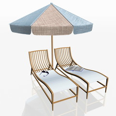 two beach chairs and umbrella