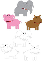 Pig,elephant and hippo to painting.
