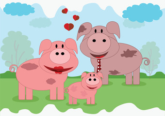 Pigs family, vector.