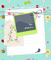 Vector baby scrapbook card with photo frame