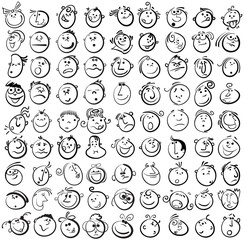 People face cartoon vector icon