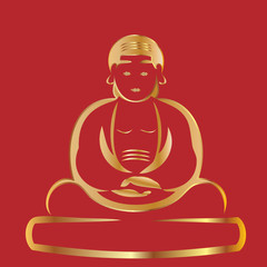 Buddha gold and red