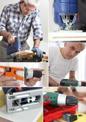 Photo-montage of a carpenter