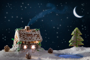 Blue smoke poured out of the gingerbread home at night in winter