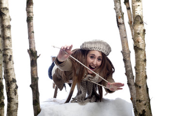 young woman on sledge