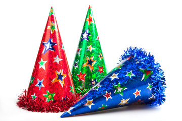 Three party hats isolated