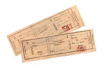 two tickets on white background