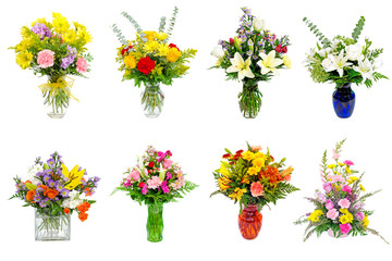 Collection of various colorful flower arrangements