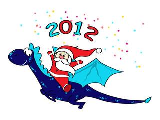 Santa on dragon - Happy New Year!