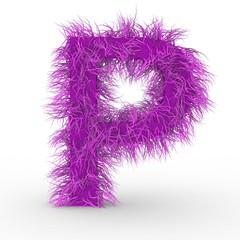 Texteffekt Haare pink Buchstabe P