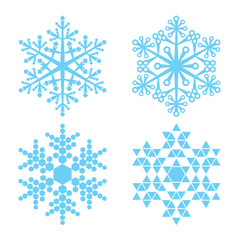 Four blue snowflakes