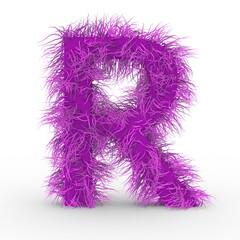 Texteffekt Haare pink Buchstabe R