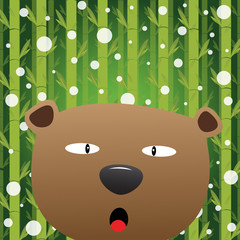 Bear and snow with bamboo background
