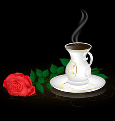 white cup and red rose