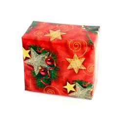 Christmas gift box on white background