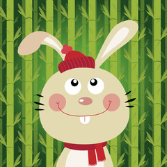 Rabbit with bamboo background