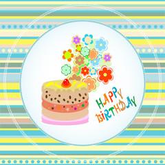 Happy birthday cakes flower design. vector Celebration card