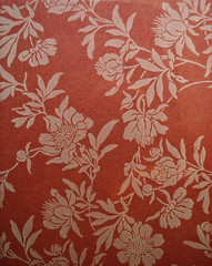 Pattern painted flowers on a bright red background. background