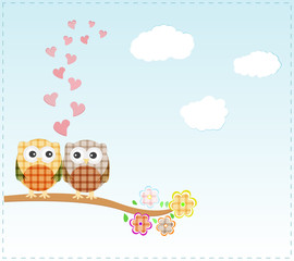 Background with owls in love sitting on branch