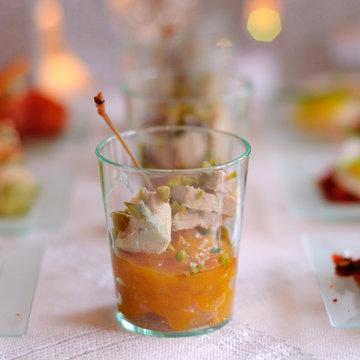 verrine de foie gras et chutney de mangues