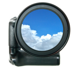 Camera lens with blue sky inside