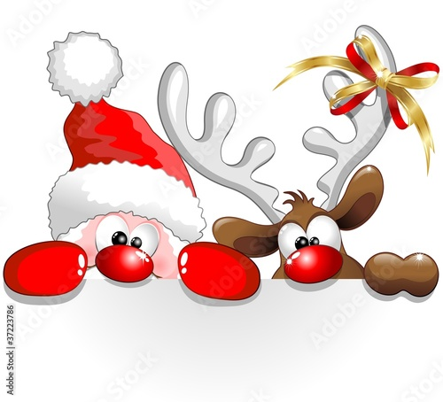 Babbo Natale E Renna Santa Claus And Reindeer Background Stock
