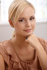 Portrait of attractive blond woman smiling