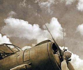 Vintage aircraft, old biplane close up