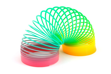 Slinky toy over white