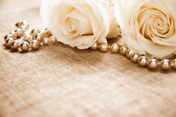 White roses and pearls
