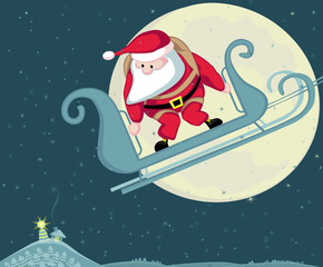 Santa with parachute in moon background