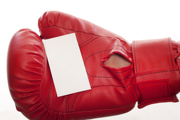 Empty business blank in boxing gloves
