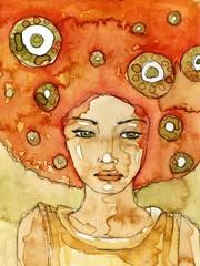 Keuken foto achterwand Schilderkunstige Inspiratie Akwarela z portretem kobiety.
